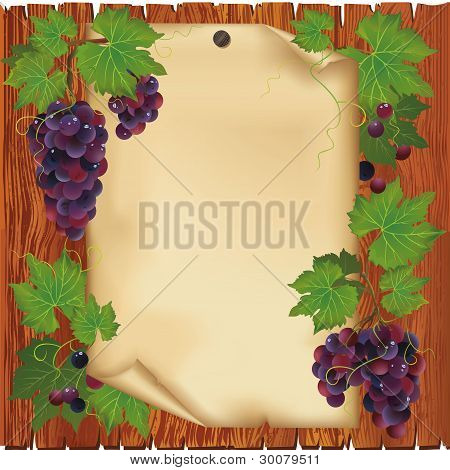 Background With Grape And Paper On Wooden Board