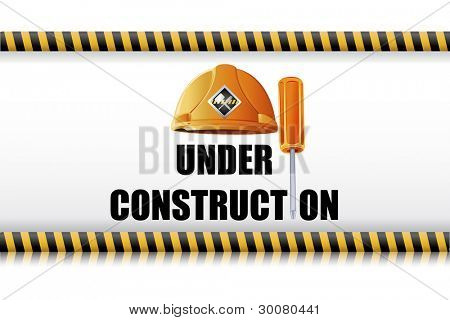 illustration of hard hat with screw driver on under construction board