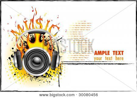 illustration of headphone and speaker with fire on music background