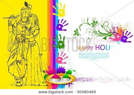 illustration of Radha Krishna on holi wallpaper