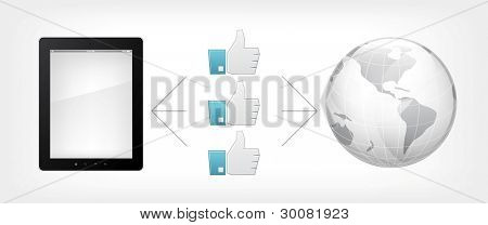 Like Concept.Tablet PC on Grey Gradient Background. Vector.
