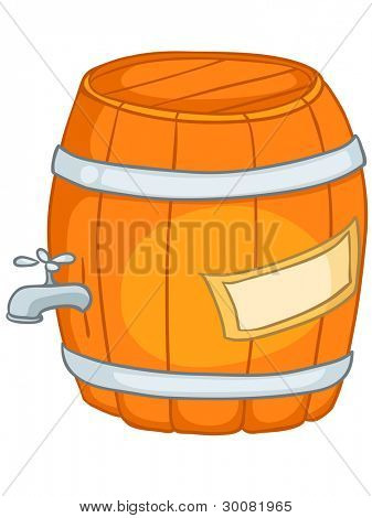 Cartoon Home Kitchen Barrel Isolated on White Background. Vector.