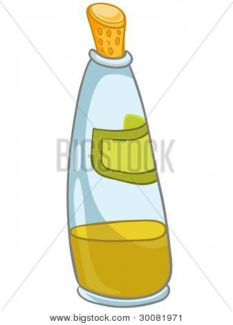 Cartoon Home Kitchen Bottle Isolated on White Background. Vector.