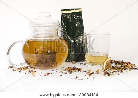 A Jar, a glass and bunch of tea
