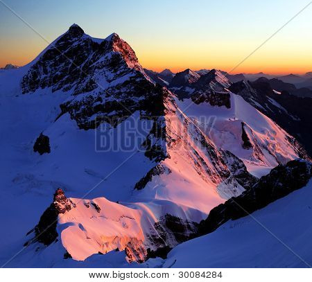 Jungfraujoch and Jungfrau Peak in Berner Oberland, Switzerland - UNESCO Heritage