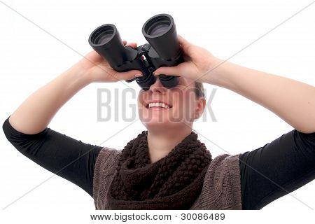 Woman With Binoculars Sight Up
