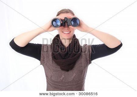 Woman With Binoculars Sight Frontal