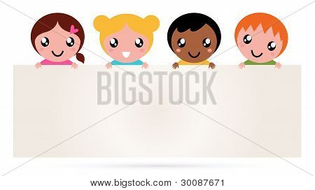 Multicultural Kids Holding Blank Banner Sign Isolated On White