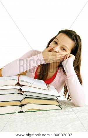 Teenage Girl Tired Of Learning
