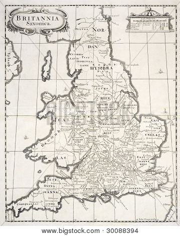 Lithograph of saxon britain dated 1644