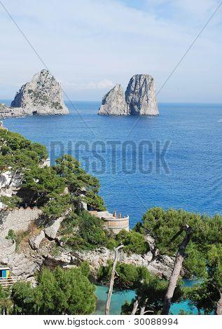 View of Faraglioni of Capri island