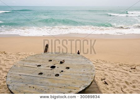 Wooden Table At Beach