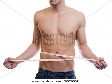 Muscular Man Measuing Waist