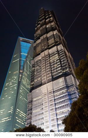 Night view of Shanghai World Financial Center and Jin Mao Tower.