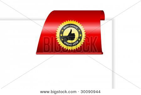vector blank paper and red clip with best choice label (black hand OK)