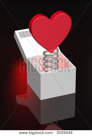 Red Heart On Coil Spring In Box