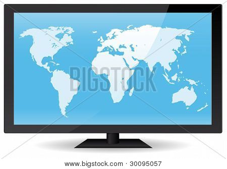 World Map On Flat Screen