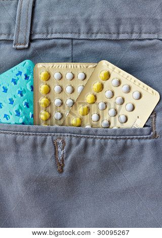 Contraceptive pills in the jeans