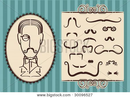 Man Portrait And Mustaches For Design