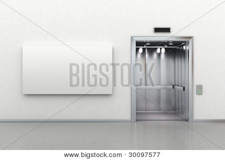 Open Elevator And Billboard