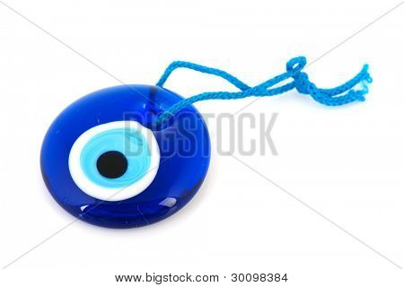 Turkish evil eye on white background