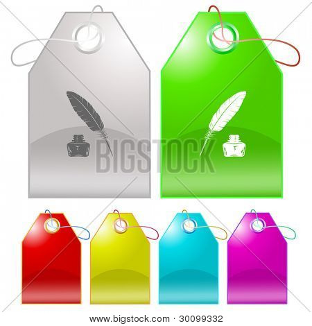 Feather and ink bottle. Raster tags. Vector version is in my portfolio.