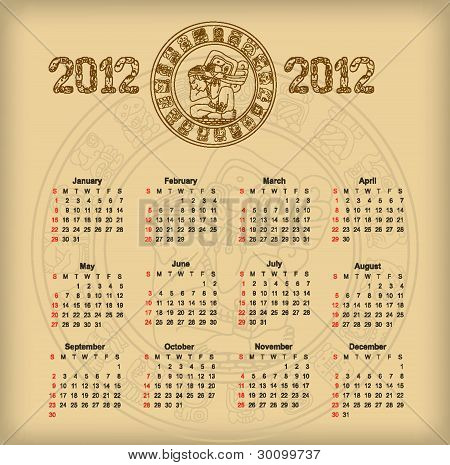 Calendar 2012 with maya symbolics