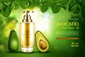 Cosmetics Oil Avocado. Organic Product Bottle With Pomp Mockup On Green Blurred Background With Tree poster