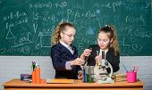 Science Experiments. Chemistry Research. Little Girls In School Lab. Science Is Future. Little Girls poster