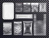 Realistic Plastic Pocket Bag Mockup. Sealed Transparent Polythene Packs For Food And Shop Goods. 3d  poster