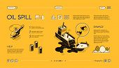 Oil Spill Isometric Web Banner. Damaged And Sinking Oil Tanker Ship, Medics Rescue Helicopter Line A poster