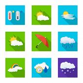 Isolated Object Of Weather And Climate Icon. Set Of Weather And Cloud Vector Icon For Stock. poster