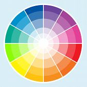 stock photo of color wheel  - Classic color wheel with the colors moving into lighter shades - JPG