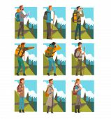 Tourists Hiking In Mountains With Backpacks Set, People In Summer Mountain Landscape, Outdoor Activi poster