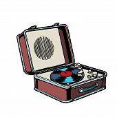 Retro Vinyl Record Player. Comic Cartoon Pop Art Vector Retro Vintage Drawing poster