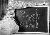 Teacher Mini Skirt Sexy Buttocks Sit Table Blackboard Inscription Back To School. Buttocks Seductive poster