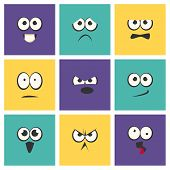 Cute Emoji With Different Emotive Feelings Set, Kawaii Emoticons, Funny Faces With Different Emotion poster