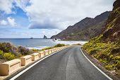 Scenic Ocean Road By Cliffs Of The Macizo De Anaga Mountain Range, Tenerife, Spain. poster