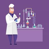 Researcher Chemical Laboratory, Male Scientist, Conducts Chemical Research, Experiments. poster