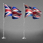 New And Old, Torn National Flag Of England Fluttering In Wind On Metal Flagpole 3d Realistic Vector  poster