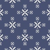 Simple Minimalist Floral Texture. Geometric Seamless Pattern With Small Flowers, Crosses, Snowflakes poster