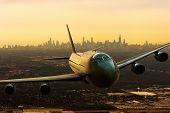 3d Rendering Of A Commercial Airplena Departing From Chicago, Usa poster