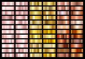 Set Of Gold Rose, Gold And Copper Foil Texture Gradation Background. Metallic Gradient Swatches. Shi poster