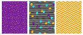 Simple Geometric Vector Patterns With Stripes, Dots, Lines And Chervron On A Violet, Black And Yello poster