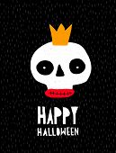 Funny Halloween Vector Illustration With Abstract Hand Drawn Skull On A Black Background. Scary Part poster
