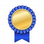Award Ribbon Gold Icon. Golden Blue Medal Design Isolated On White Background. Symbol Of Winner Cele poster