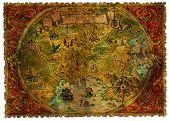 Ancient Pirate Map Of Treasures With Dragons. Hand Drawn Graphic Illustration Of World Atlas With Vi poster