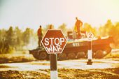 Creative Badge - Stop Wars. Concept - No War, Stop Military Operations, World Peace. Stop War Sign O poster