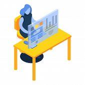 Woman Desktop Futuristic Graph Icon. Isometric Of Woman Desktop Futuristic Graph Vector Icon For Web poster