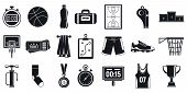 Sport Basketball Equipment Icons Set. Simple Set Of Sport Basketball Equipment Icons For Web Design  poster